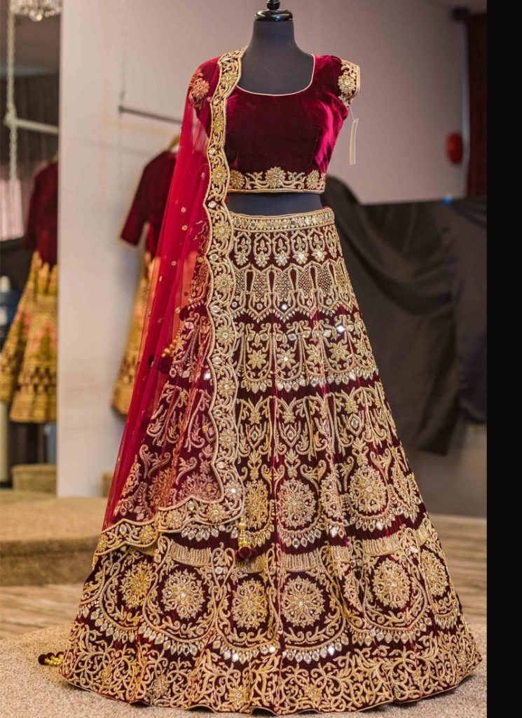 shop-color-maroon-fabric-velvet-lehenga-choli